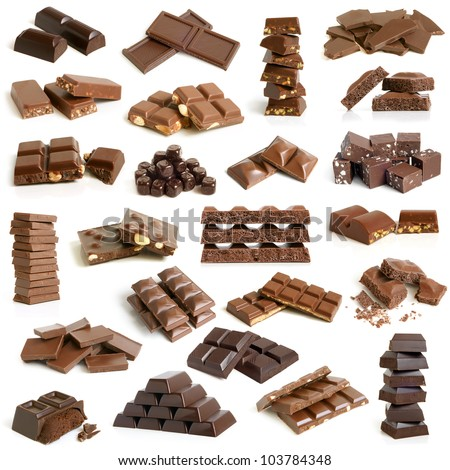 Chocolate collection on a white background