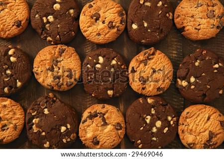 Chocolate cookie biscuits grid rows arrangement