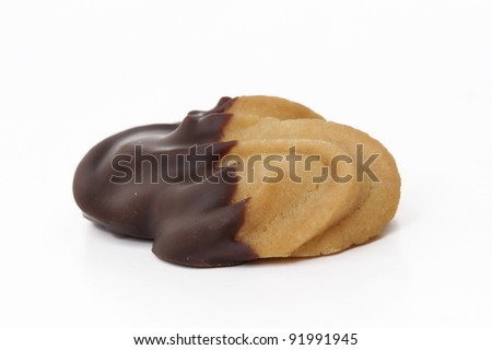 Chocolate cookie on white background.Homemade chocolate cookie on white background.