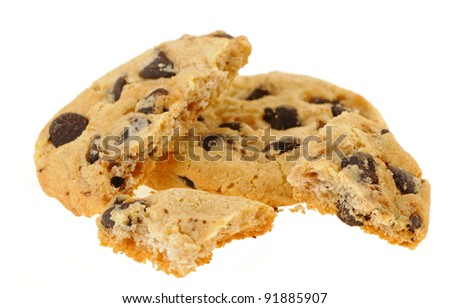 Chocolate cookies. Broken, it is isolated on a white background