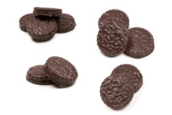 Chocolate cookies isolated on white. Copy space.