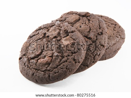 Chocolate cookies  on the white background