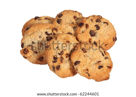 Chocolate cookies on white background with clipping path