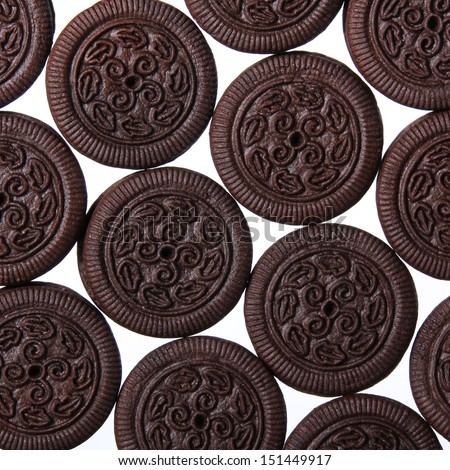 Chocolate cookies with cream filling isolated on white. Background.