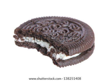 chocolate cookies with creme filing isolated on white background