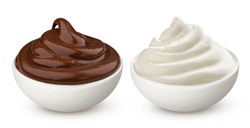 Chocolate cream and milk vanilla cream in bowl isolated on white background with clipping path, swirl of hazelnut paste