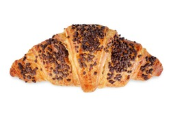 Chocolate croissants with chocolate sprinkles isolated. toning. selective focus