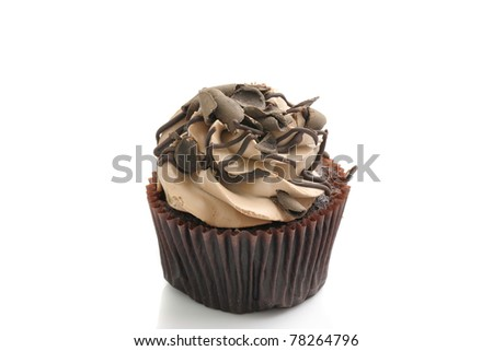 chocolate cup cake , sweet dessert isolated in white background