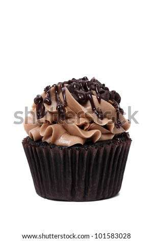 Chocolate cupcake isolated on white background.