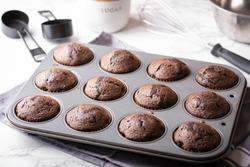 chocolate cupcake on iron pan