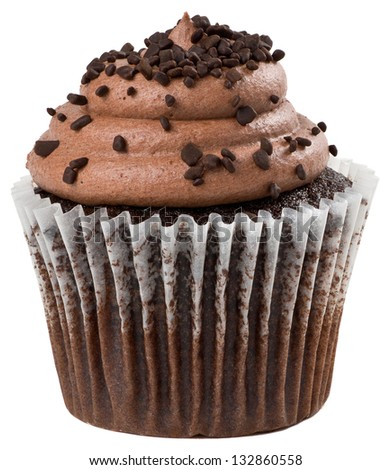 Chocolate Cupcake with Chocolate Chips Sprinkled on Top Isolated