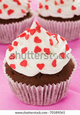 Chocolate cupcakes for Valentine's Day. Shallow dof.