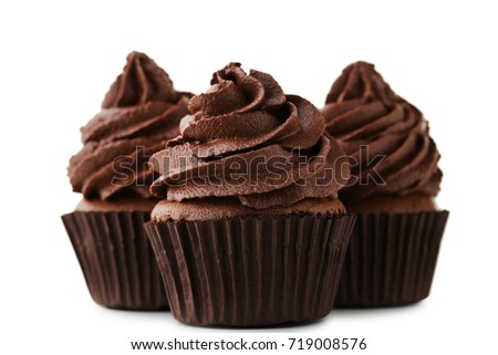Chocolate cupcakes isolated on white background #719008576