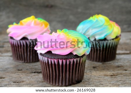 Chocolate cupcakes with multi colored icing shot on a rustic ...