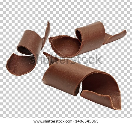 Chocolate curls on isolated, transparent background with clipping path