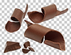 Chocolate curls, parts, pieces or chips on isolated background including clipping path