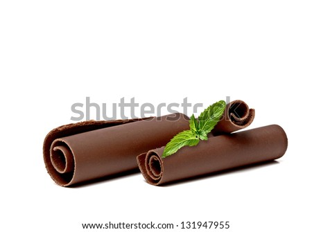 Chocolate Curls with Fresh Mint On White Background