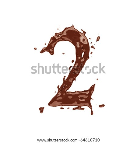 Chocolate digit 2 isolated on white background