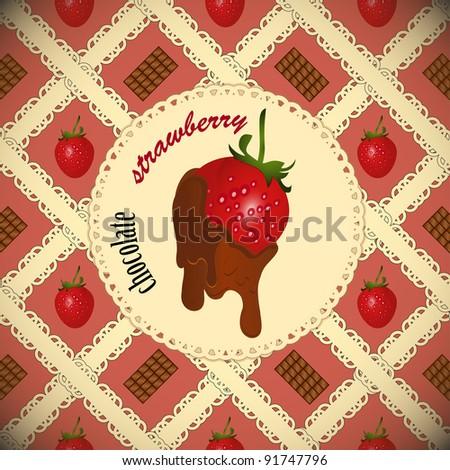 chocolate dipped strawberries. Vintage card - JPEG version
