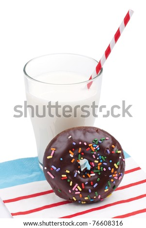 Chocolate donut and glass of milk isolated on white