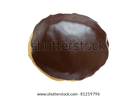 Chocolate Donut from Top View Isolated on a White Background