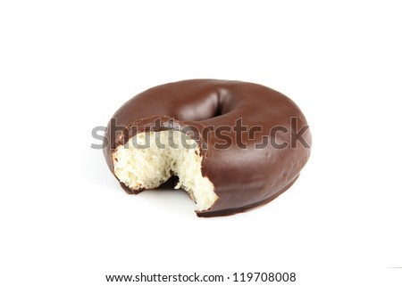 chocolate donut with a bite, isolated on white background
