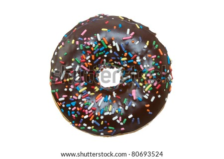 Chocolate Donut with Sprinkles Isolated on a White Background