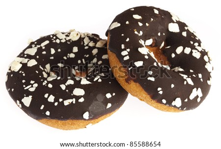 chocolate donuts isolated on a white background