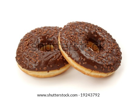 Chocolate donuts  isolated on white background