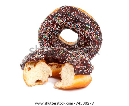 Chocolate Donuts with Sprinkles. Isolated on a White Background