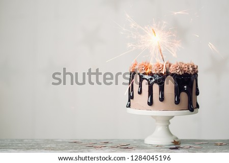 Chocolate Drip Cake With Sparkler For A Birthday Or Celebration 1284045196