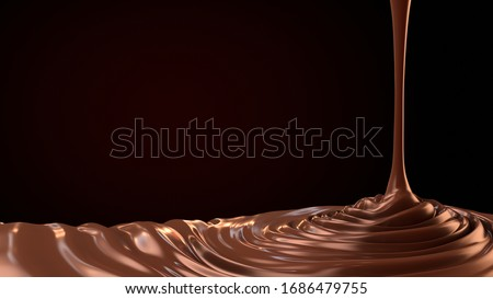 chocolate drop. Splashing chocolate liquid, tasty sweet chocolate. Pouring hot chocolate.3d illustration Photo stock ©