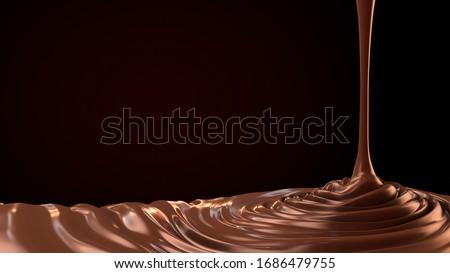 chocolate drop. Splashing chocolate liquid, tasty sweet chocolate. Pouring hot chocolate.3d illustration