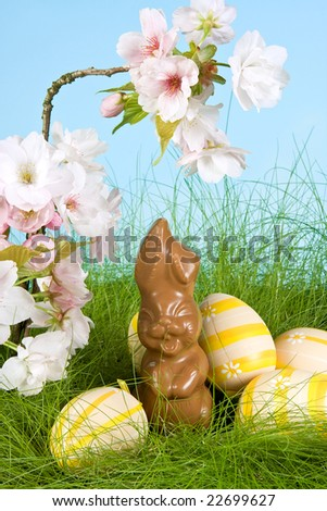 Chocolate easter bunny and yellow eggs under spring blossoms