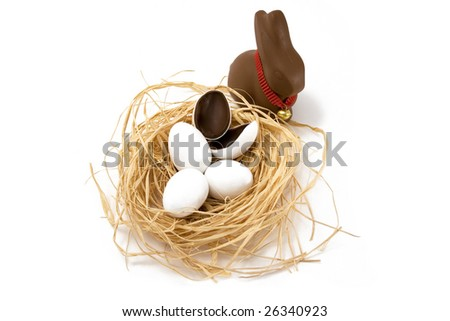 Chocolate Easter bunny looking over straw nest with white coated chocolate eggs, one hatched, on white background.