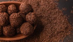 Chocolate Easter Egg filled with brigadeiro (brigadier), Goumert egg chocolate tradition in Brazil.
