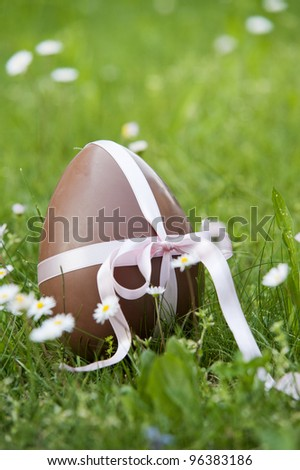 chocolate easter egg in green lawn