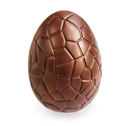 Chocolate Easter  egg  isolated on white background, close up