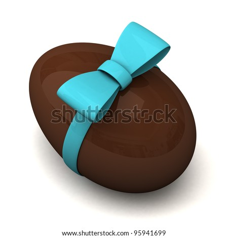 Chocolate Easter egg with blue ribbon bow 3d