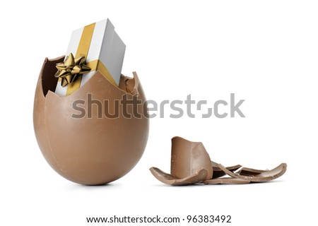 chocolate easter egg with gift box, isolated on white