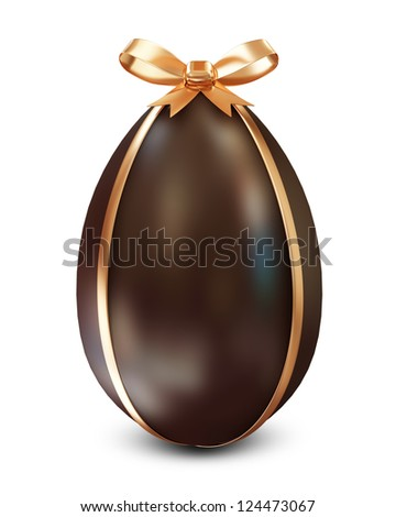 Chocolate Easter Egg with Golden Bow isolated on white background