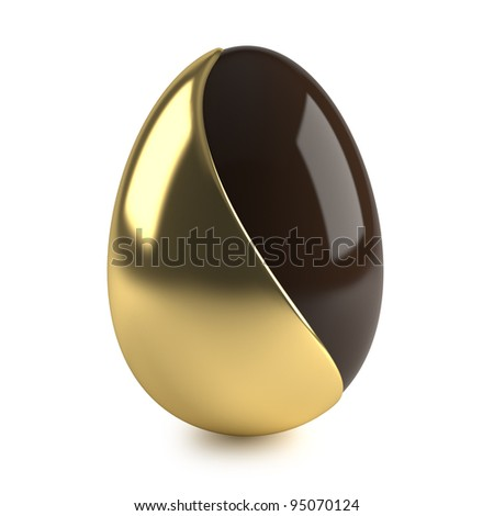 chocolate easter egg with golden decoration on white background