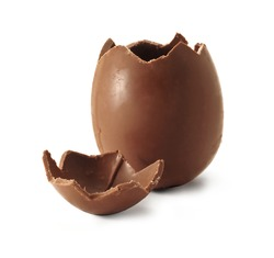 Chocolate Easter egg with the top broken off