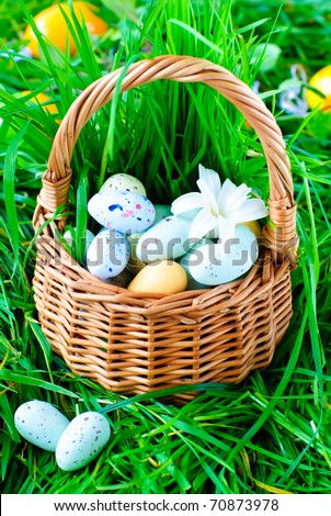 easter eggs in a basket. Easter Eggs in a asket on