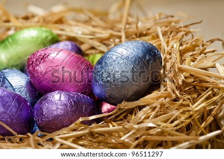 Chocolate Easter eggs in a natural straw nest a nice close-up shoot