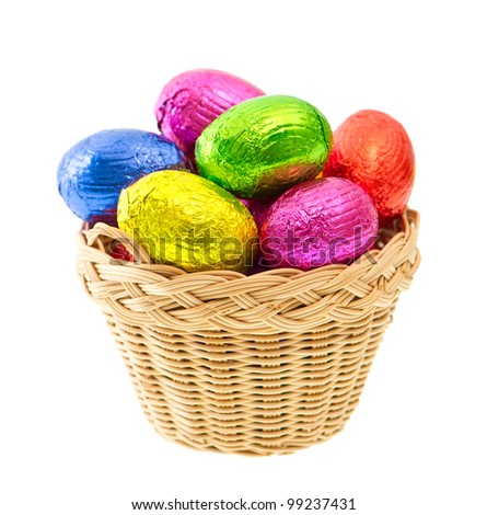 chocolate easter eggs in colorful foil on white background