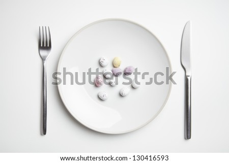 Chocolate easter eggs on plate with knife and fork