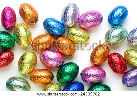 Chocolate easter eggs on white