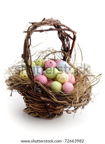 Chocolate easter eggs on white isolated background