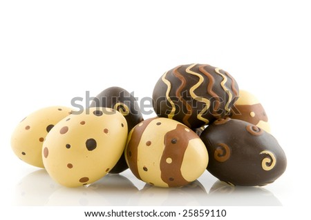 chocolate easter eggs with decoration pattern isolated over white
